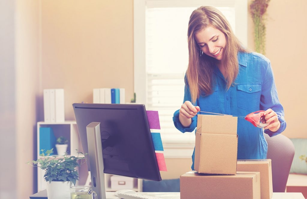 online retail shipping a package